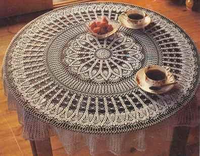 Вязание скатерти крючком: