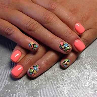 Красивый дизайн на короткие ногти шеллак