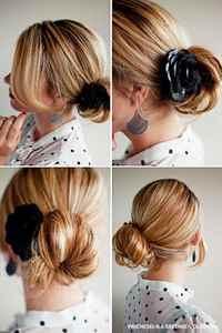 Прически пучок на средних волосах