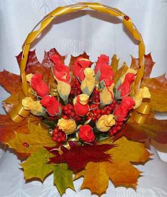Осенние букеты своими руками листьями 871