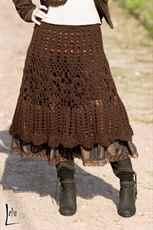 Вязаная узорная юбка