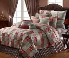 Кровать с красными квадратами