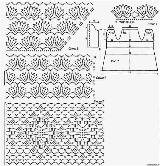 Схема рисунка вееров крючком