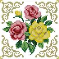 Вышивка схема цветы на подушке