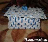 Пошаговое плетение из газетных трубочек для начинающих 64