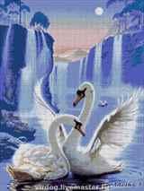 Два лебедя на озере: