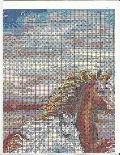 Вышивка крестом лошади бегущие по воде