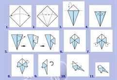 Как сделать птичку из бумаги оригами
