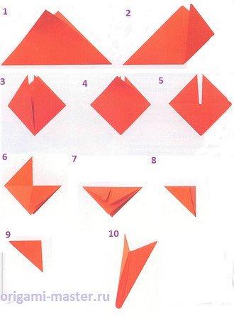 схема оригами, собака,