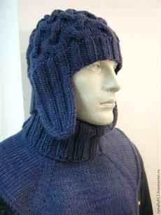 шапка ушанка спицами,