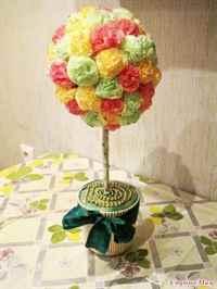 Цветы для топиариев из салфеток своими руками