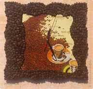 Поделки из кофейных зёрен часы 66