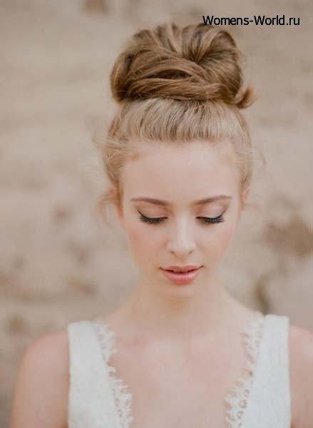 прическа волосы вверх на средние волосы