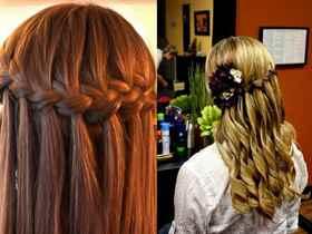 Прическа водопад с кудрями на средние волосы фото