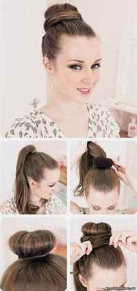 Причёска пучок сделать самой Прическа пучок из волос как сделать красивые пучки