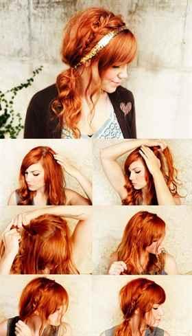 быстрая прическа на длинные волосы с челкой