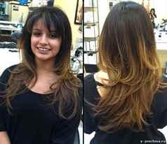 многослойная градуированная стрижка на длинные волосы