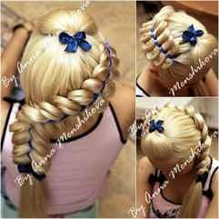 Фото плетения волос с лентой
