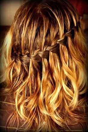 плетение волос водопад схема