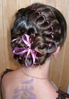 Как плести косу с лентой пошагово