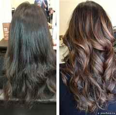 Тонирование волос для брюнеток фото до и после
