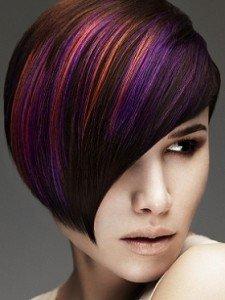 Каштановый цвет волос с мелированием