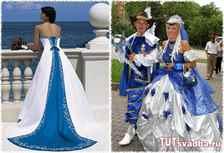 Свадебные платья бело синего цвета