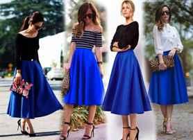 С чем носить юбку широкую ниже колена
