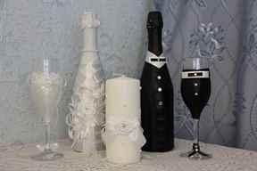 Фото украшений свадебных бокалов