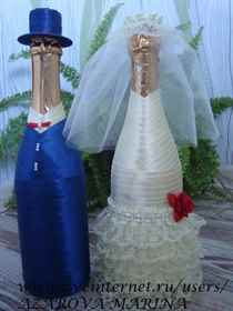 Украшение бутылок своими руками свадебные