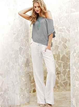 Льняные широкие брюки женские