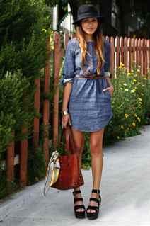 Платье рубашка джинсовая с чем носить