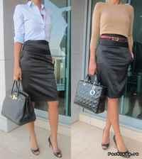 С чем носить атласную черную юбку