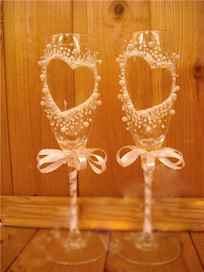 Как украсить свадебные бокалы пошаговая инструкция