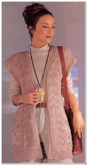 Вязанье спицы женские ажурные жилеты
