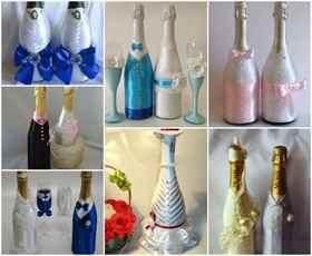 Украшение на свадебного шампанского своими руками
