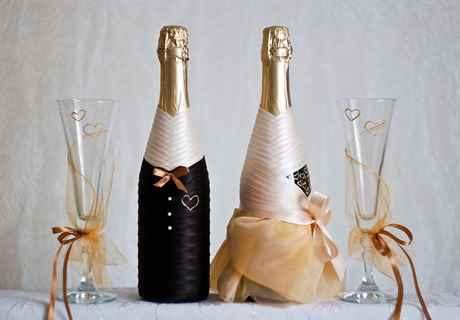 Декорирование бутылок своими руками свадебные