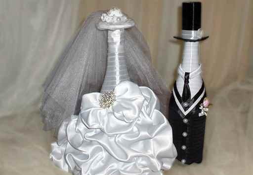 Декорирование бутылок для свадьбы