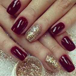 Бордовые ногти нарощенные