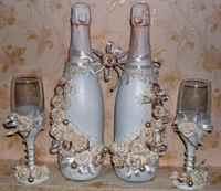Украшение бутылок на свадьбу мастер класс