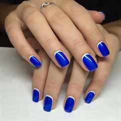 Ногти с синим гель лаком