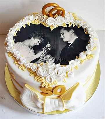 Торт на золотую свадьбу бабушке и дедушке, из мастики, кремовый, своими руками, фото и видео