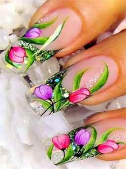Фото маникюр на ногти цветы
