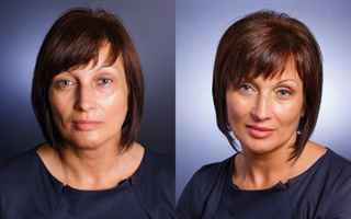 Макияж глаз до и после
