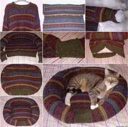 Как сшить лежанку для кота из свитера