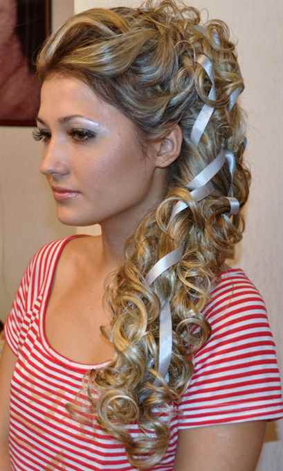 Прически с лентами на длинные волосы