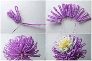 Сделай хризантему из бисера