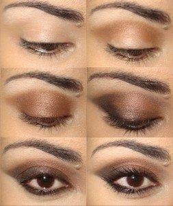 Макияж коричневыми тенями пошагово