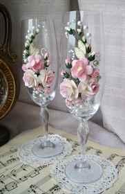Декор свадебных бокалов мастер класс
