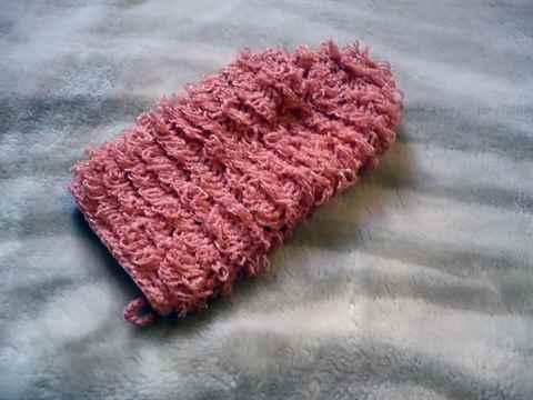 Вязание крючком мочалок рукавичек вытянутыми петлями